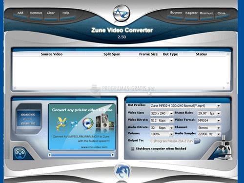 Pantallazo A-Z Zune Video Converter
