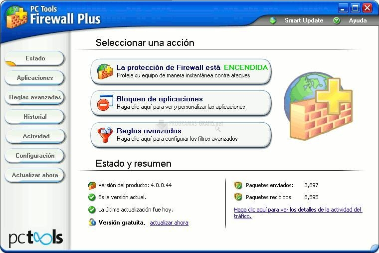 Pantallazo PC Tools Firewall Plus