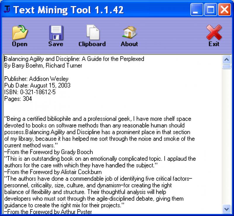 Pantallazo Text Mining Tool