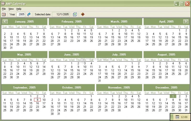 Pantallazo AMP Calendar