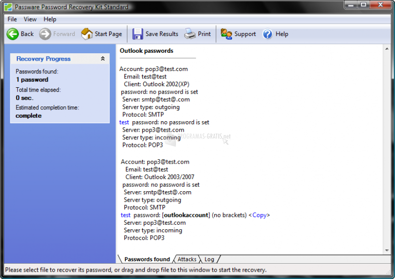 Pantallazo Outlook Key