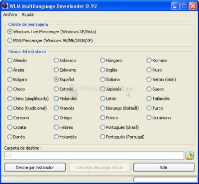 Pantallazo WLM Multilanguage Downloader