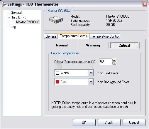 Pantallazo HDD Thermometer