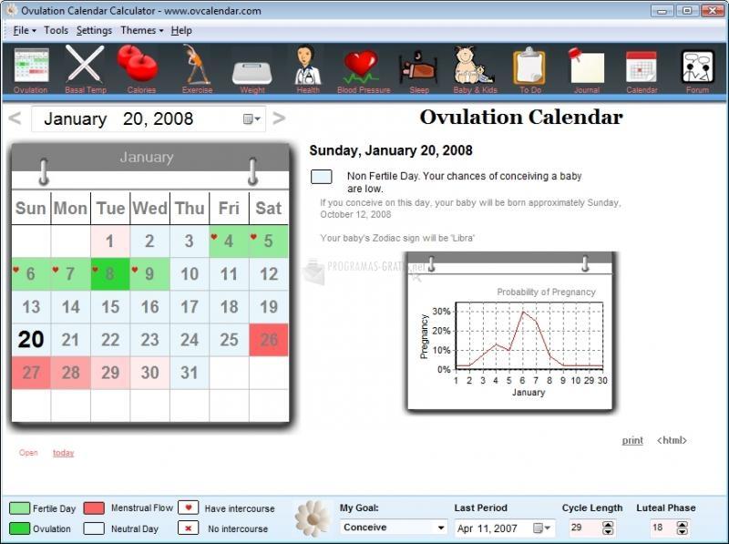 Pantallazo Ovulation Calendar Calculator 2008