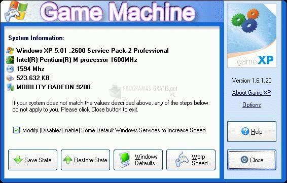 Pantallazo Game XP