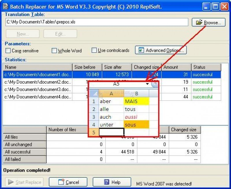 Pantallazo Batch Replacer for MS Word