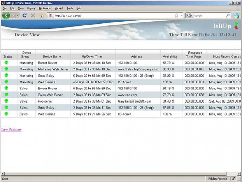 Pantallazo IsItUp Network Monitor