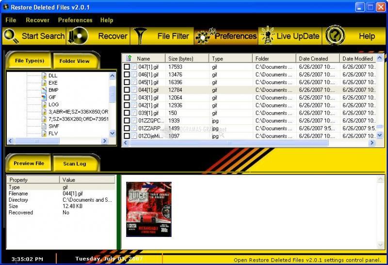Pantallazo Restore Deleted Files