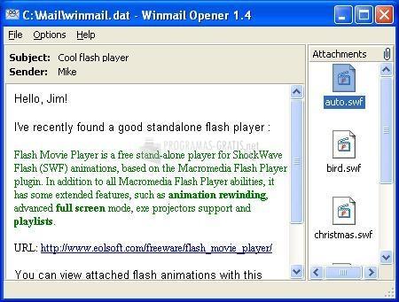 Pantallazo Winmail Opener