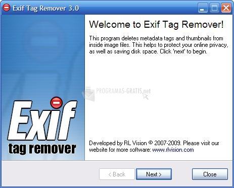 Pantallazo Exif Tag Remover