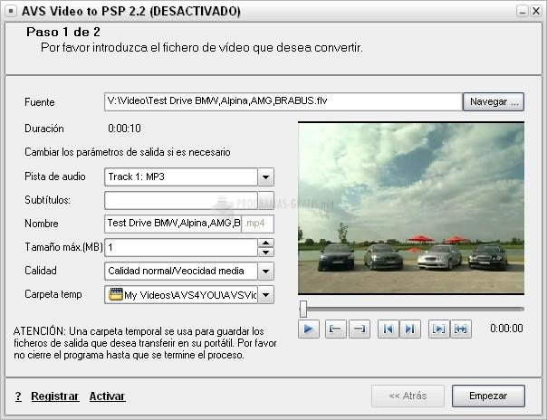Pantallazo AVS Video to PSP