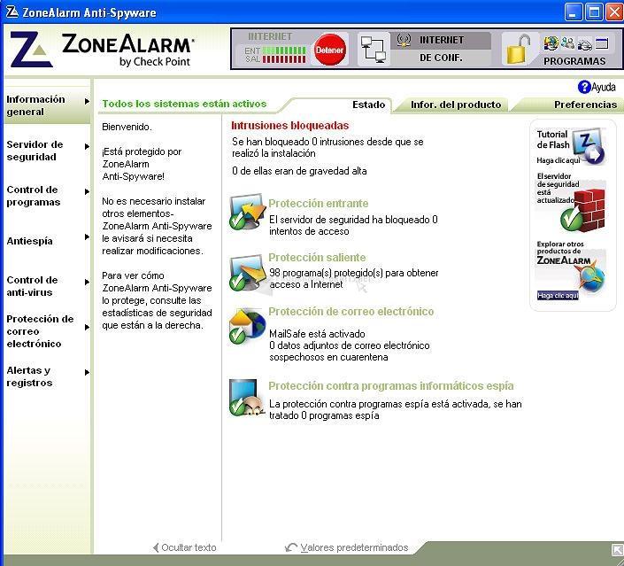 Pantallazo ZoneAlarm Anti-Spyware