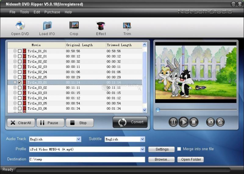 Pantallazo Nidesoft DVD Ripper