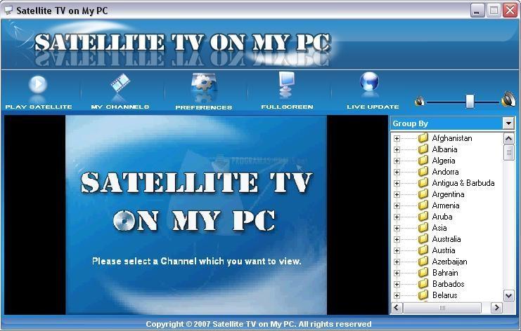 Pantallazo Pimasoft Satellite TV On My PC