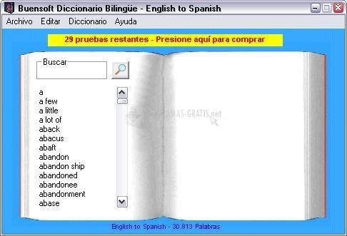 Pantallazo Buensoft Diccionario Bilingüe con Voz
