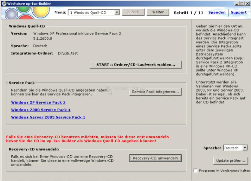 Pantallazo WinFuture XP-ISO-Builder