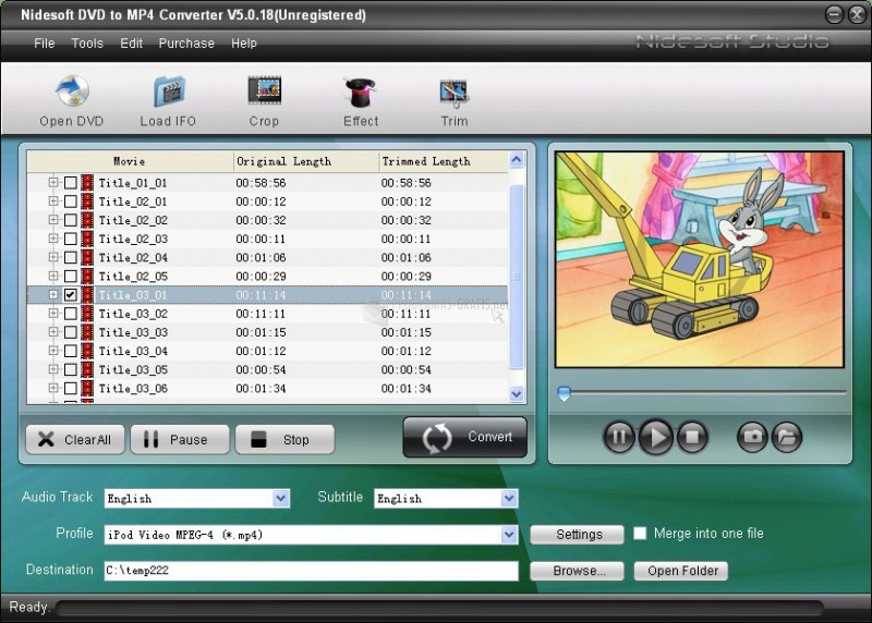 Pantallazo Nidesoft DVD to MP4 Converter