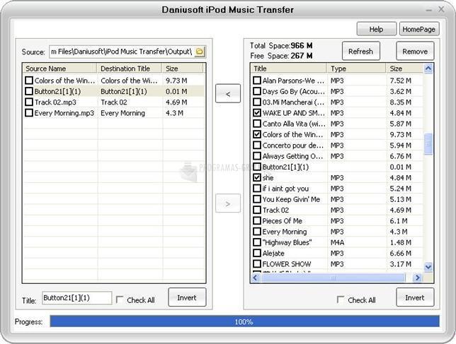 Pantallazo Daniusoft iPod Music Transfer