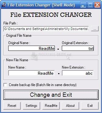 Pantallazo File Extension Changer