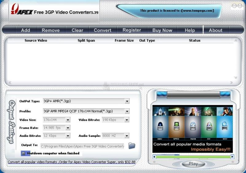 Pantallazo Apex Free 3GP Video Converter