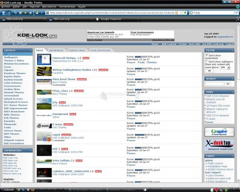 Pantallazo Futurosoft Vista Theme Firefox
