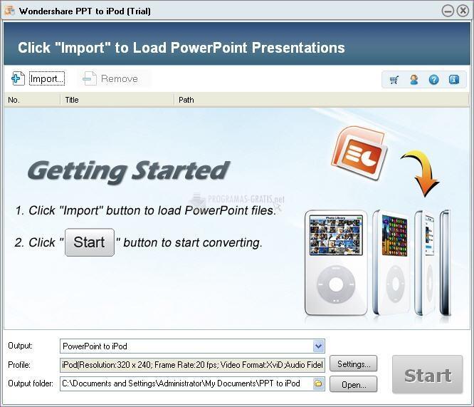 Pantallazo Wondershare PPT to iPod