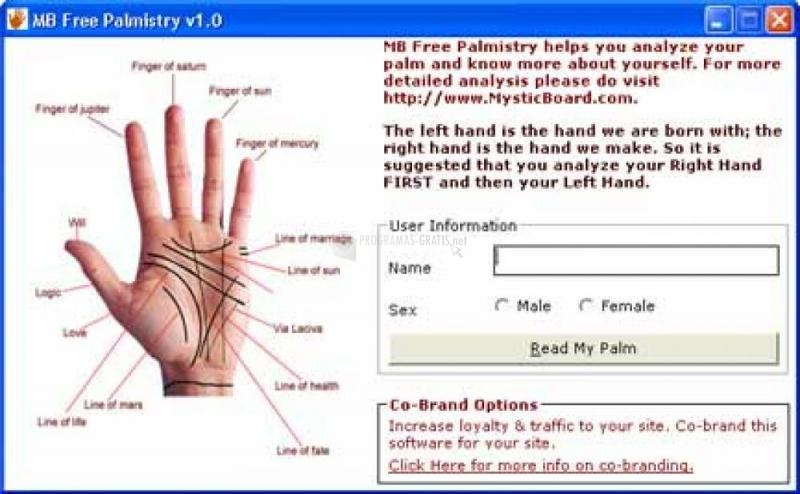 Pantallazo MB Free Palmistry