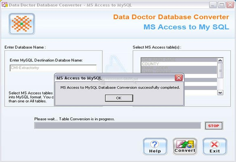Pantallazo MS Access to MySQL Database Conv