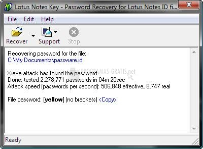 Pantallazo Lotus Notes Key