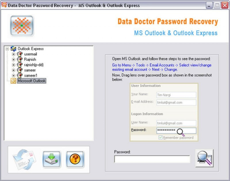 Pantallazo Data Doctor Outlook Password Recovery