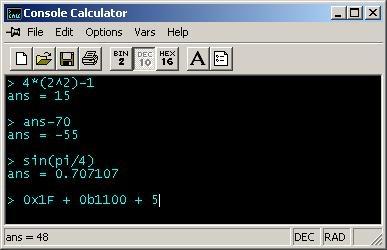 Pantallazo Console Calculador