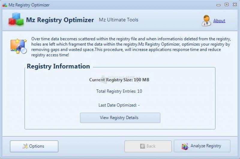 Pantallazo Mz Registry Optimizer