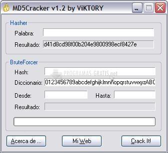 Pantallazo MD5Cracker