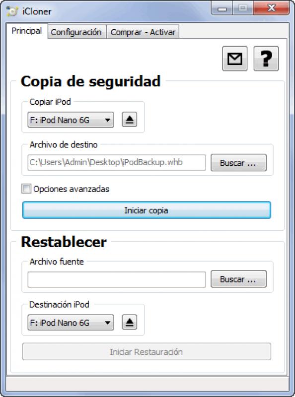 Pantallazo iCloner