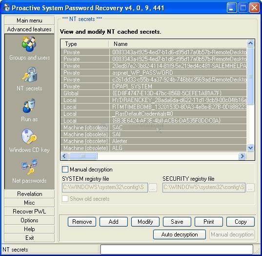 Pantallazo Proactive System Password Recovery