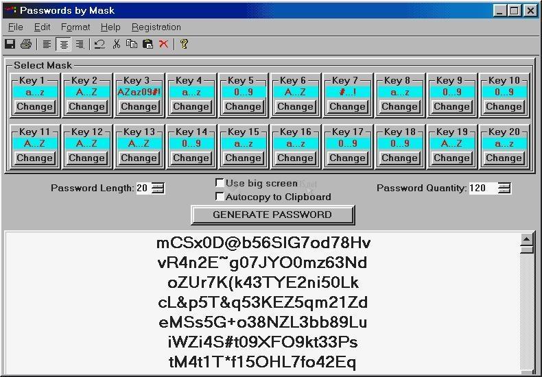 Pantallazo Passwords by Mask