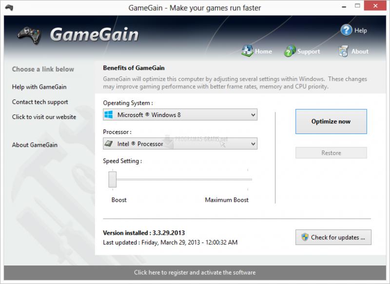 Pantallazo GameGain