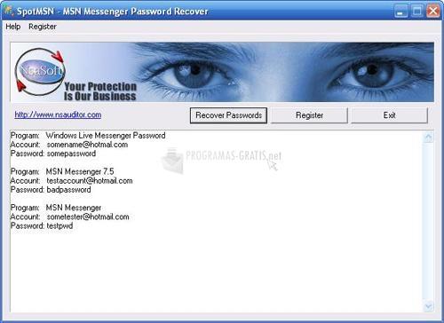 Pantallazo SpotMSN Password Recover