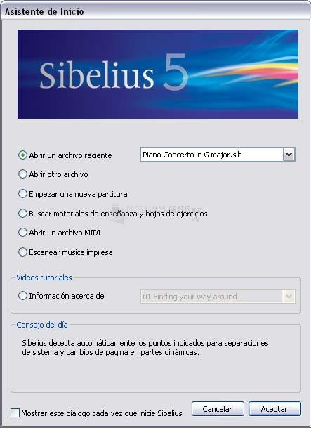 Pantallazo Sibelius