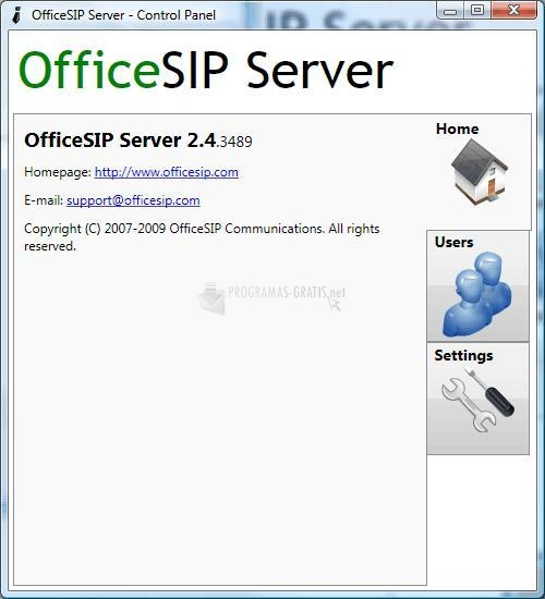 Pantallazo OfficeSIP Server