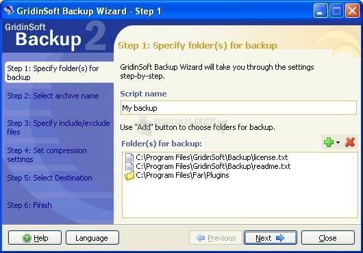 Pantallazo GridinSoft Backup