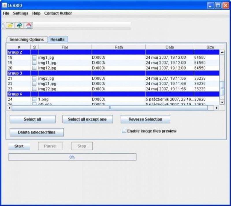 Pantallazo Duplicate Files Searcher