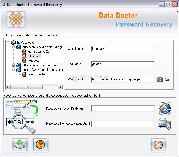 Pantallazo Internet Explorer Password Recovery