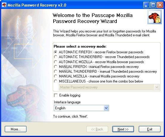 Pantallazo Mozilla Password Recovery