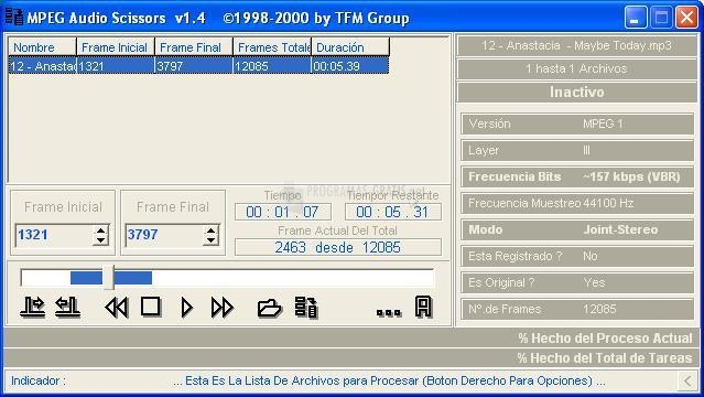 Pantallazo MPEG Audio Scissors