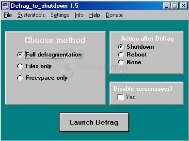 Pantallazo Defrag to shutdown