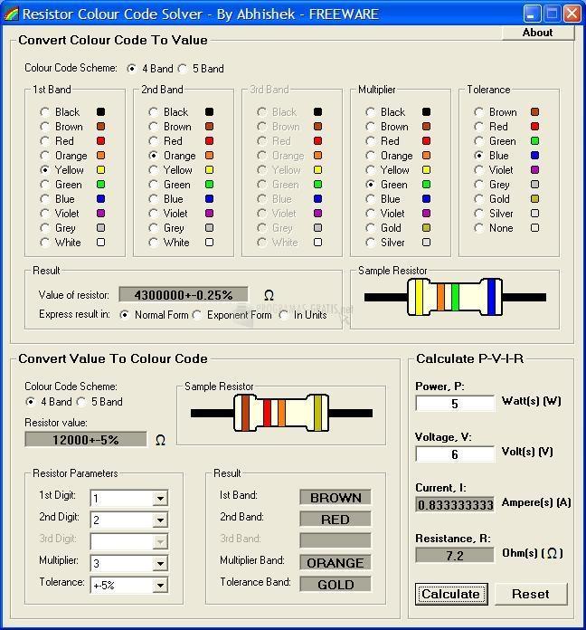 Pantallazo Resistor Colour Code Solver