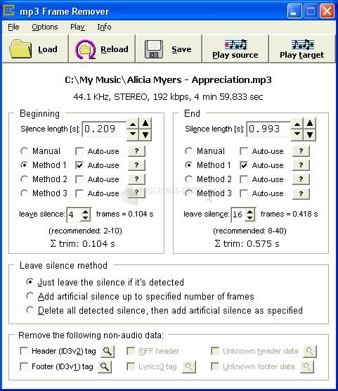 Pantallazo MP3 Frame Remover