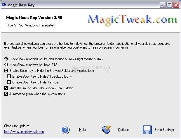 Pantallazo Magic Boss Key
