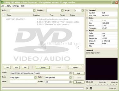 Pantallazo 4Movy DVD Video to Zune Converter